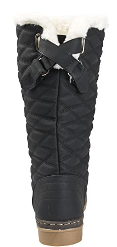 Knee Snow Quilted High Shoes 3 Ladies UK Boots Size Fur Lined Black Lora Womens 8 Faux Dora Winter Boots xfwqn0zE8