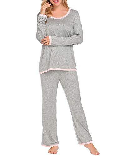 - Ekouaer Women's Boat Neck Long Sleeve Shirt Elastic Waist Pants Sleepwear Pajamas Set