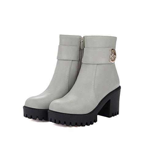 AllhqFashion Damen Hoher Absatz Niedrig-Spitze Stiefel mit Metalldekoration Grau