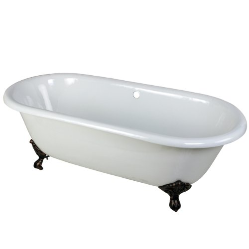 Kingston Brass Aqua Eden VCTND663013NB5 Cast Iron Double Ended Clawfoot Bathtub with Oil Rubbed Bronze Feet without Faucet Drillings,  66-Inch, White