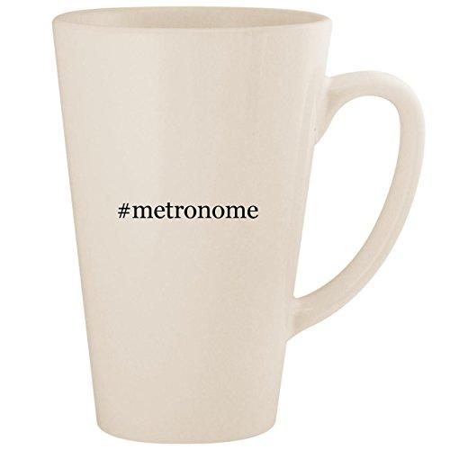 #metronome - White Hashtag 17oz Ceramic Latte Mug (Vintage Drum Practice Pad)