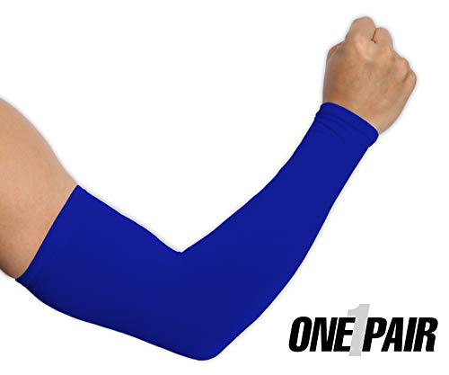 UV Protection Cooling Arm Sleeves - UPF 50 Long Sun Sleeves for Men & Women. Perfect for Cycling, Driving, Running, Basketball, Football & Outdoor Activities. (Blue)