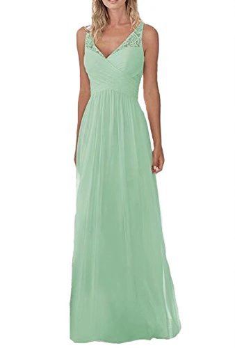 Holygift Women's V Neck Chiffon Long Lace Beach Prom Bridesmaid Dresses Wedding Guest Dresses Mint US10