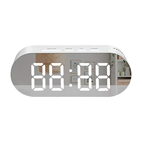 WELQUIC LED Digital Alarm Clock USB Desk Bedside Clock Mirror Screen Modern Numbers Design Snooze, Brightness Adjustable, White