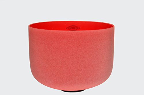 TOPFUND Frosted C Root Chakra Red Colored Quartz Crystal Singing bowl 14 inch