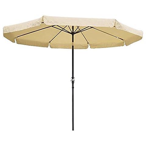 Patio Outdoor Lawn & Garden Furniture Umbrella Crank Tilt 10ft Aluminum Tan
