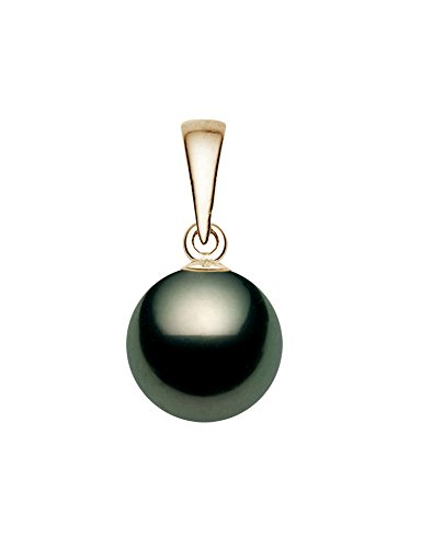 14K Yellow Gold AA+ Quality Black Tahitian Cultured Pearl Pendant (10-11mm) 14k Yellow Gold Tahitian Pearl