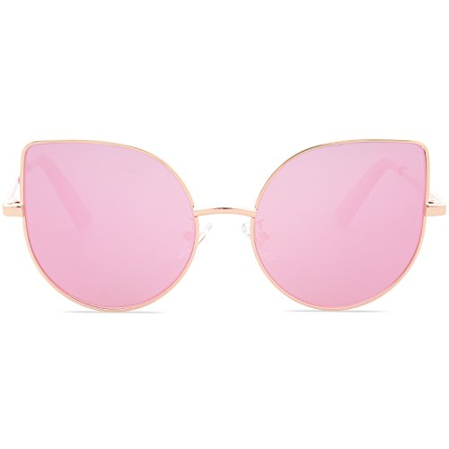 SojoS Kids Fashion Cat Eye Round Sunglasses For Girls UV Protection Mirror Lens (101C7-Gold Frame/Full Pink Mirrored Lens, - For Round Eye Cat Eyes
