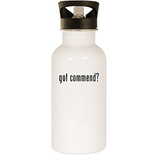 (got commend? - Stainless Steel 20oz Road Ready Water Bottle, White )