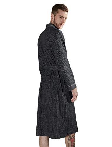 Pijamas Para Fashion Ocio Cómodos Los Hx Textil Robe Sueltos El De Hombres Manga Ropa Albornoz E Tamaños Hogar Cómoda Invierno Otoño Toalla Negro Seda Larga dXxUUFa
