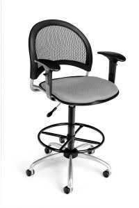 Ofm - Putty Modern Moon Mesh Back Drafting Chair With Adjust