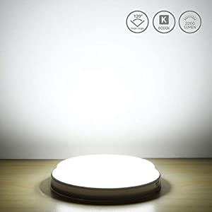LE Ceiling Light Waterproof IP54, 24W 2200lm, Daylight White 6000K, Flush Mount, Round LED Ceiling Light for Lounge…