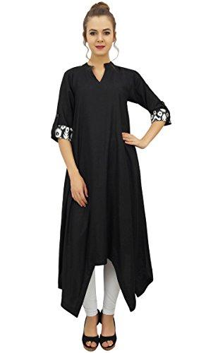 Coton Bimba Kurata Ourlet Noir Avec Asymetrique D'ete Pour De Femmes Echarpe En Robe SS6UEqfw
