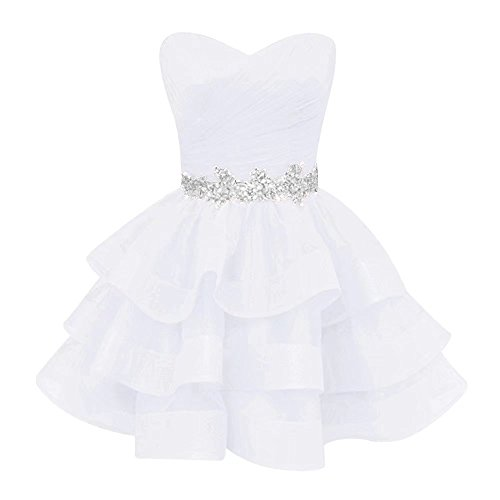 (Pettus Women's Sweetheart Ruffle Beads Homecoming Dresses Sequins Sash Prom Party Gowns Short White14)