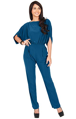 KOH KOH Plus Size Womens Short Sleeve Sexy Formal Cocktail Casual Cute Long Pants One Piece Fall Pockets Dressy Jumpsuit Romper Long Leg Pant Suit Suits Outfit Playsuit, Dark Blue Jade 2XL 18-20 ()