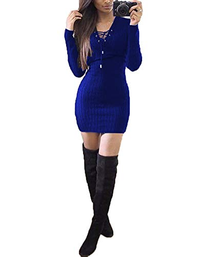 Blu Benda Donna Vestito Pullover Invernali Basso Dell'anca Maglioni A Pacchetto Del Petto Zaffiro Girocollo Lungo Maglieria Eleganti n0kwOP
