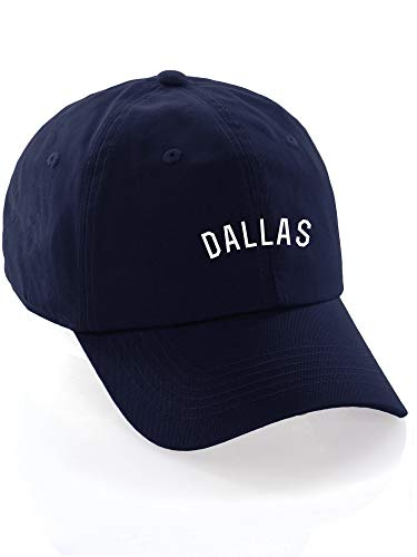 Daxton USA Cities Baseball Dad Hat Cap Cotton Unstructure Low Profile Strapback - Dallas Navy White