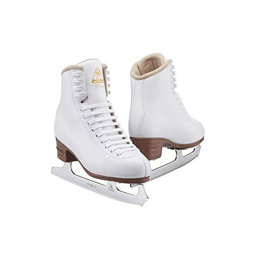 Jackson Ultima Excel JS1290 White Womens Ice Skates with Mark II blades, Width C, Adult 6.5