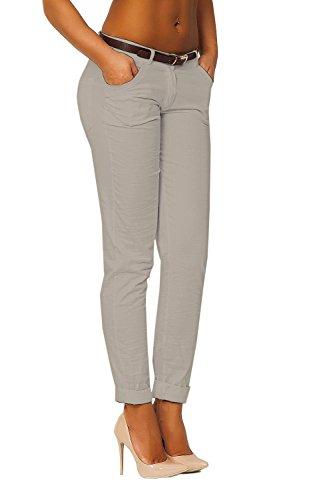 danaest Mujer Pantalones Pierna Recta Incluye Cinturón (348) Beige