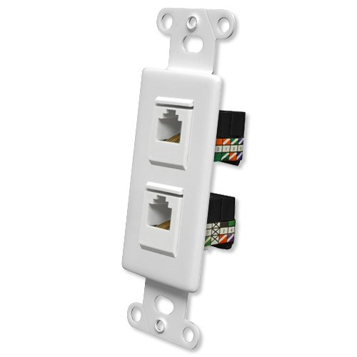 Pro Wire OEM Systems Combo Jack Plate (1 RJ11, 1 RJ45), White (IW-2RJ1145G-w)