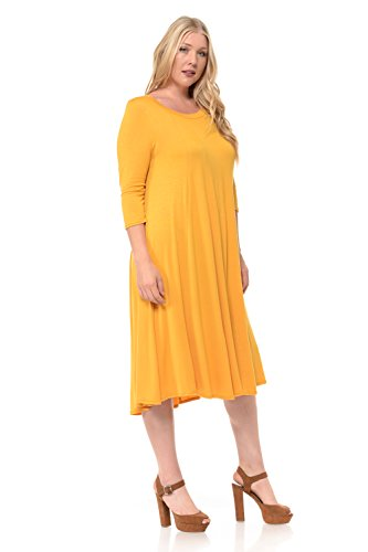 Plus Pastel Midi Made Size by USA A in Vivienne Mustard Dress Women's Line Trapeze nqxBw48fSq