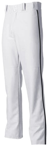 Youth Medium White with Black Side Piping A4 Baseball/Softball Pants Pro Style Baggy with Side Color Piping A4 Youth Baseball Pant