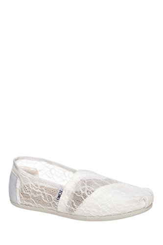 Toms Women's Classic Lace White Fabric Flat Shoe - 6M