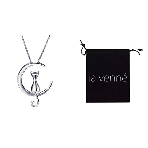 Thenxin Silver Cat Moon Necklace,Cat and Moon Pendant Necklace with 18'' Chain (Silver) ()
