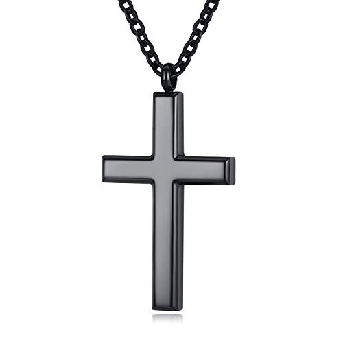 REVEMCN Simple Men's Stainless Steel Cross Pendant Chain Necklace for Men Women, 20'' - 24'' Chain (24, Black Tone - Link Chain)