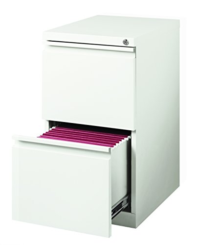 (Hirsh 20 in Deep 2 Drawer Mobile File Cabinet in White)