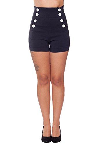 Sidecca-Retro-Nautical-Sailor-Large-8-Button-High-Waist-Cuffed-Shorts