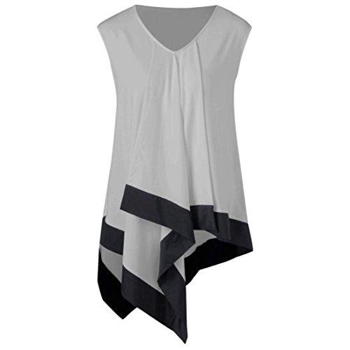 GOVOW Women Summer Sleeveless V Neck T-Shirts Casual Loose Irregular Tank (Halloween Contact Lens Non Prescription)