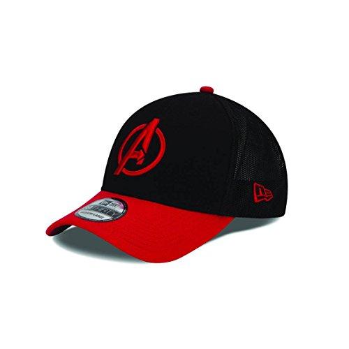 New Era Cap Men's Avengers Stretch Mesh 39Thirty Cap, Black/Red, Medium/Large