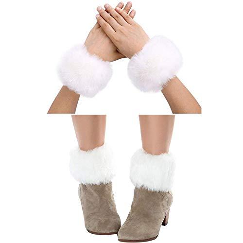 White Fur Leg Warmers (Bhwin Women Faux Fur Wrist Cuffs Warmer Cover And Winter Faux Fur Boot Cuffs Knitting Leg Warmers Set)