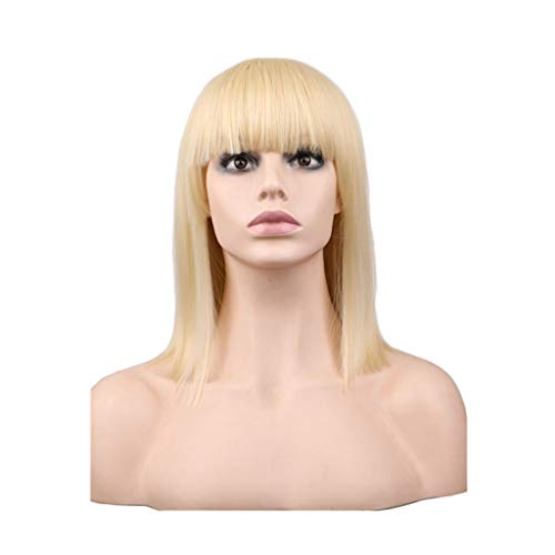 MCGMXG Wigs,Short Multi-Color Optional Straight Hair Wig High Temperature Synthetic Hair Wig Bangs-16in Wig (Color : F)]()