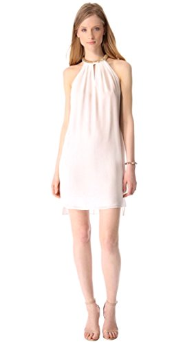 Silk Neck Dress Halter (REBECCA TAYLOR Womens Sequin Neck Silk Flared Halter Dress Sz 2 Ivory 140092F)