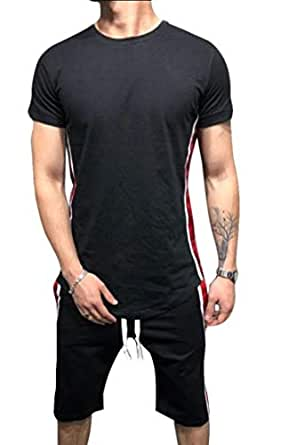 Men Summer Stripes Shorts Set Tracksuit Short Sleeve Shirt and Shorts Casual 2 Piece Set Black XS