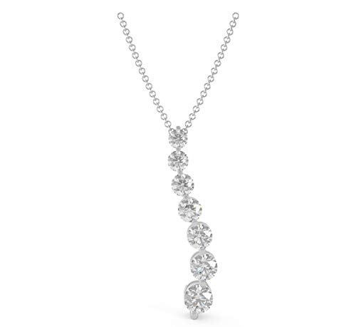 Pendant Seven Diamond Journey Prong - Frostrox 14K White Gold 0.70 Carat Seven-Stone Round Brilliant-Cut (K-L Color, I1-I2 Clarity) Journey White Diamond Pendant for Women