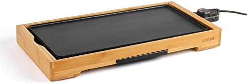 LIVOO DOC202 Plancha Électrique Bambou, Fonte d'Aluminium, Thermostat Réglable | Idéal pour 6 à 8 Personnes | Plaque Démontable pour un Nettoyage Facile | 2200W