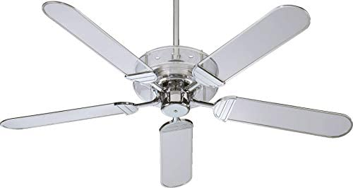 Quorum 400525-14 Prizzm – 52 Ceiling Fan, Chrome Finish with Clear Acrylic Ch Trim Blade Finish