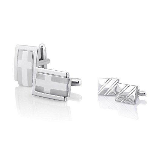 Silver Square Diagonal Ribbed Cufflinks+Silver Polished Rectangle Cuff Links