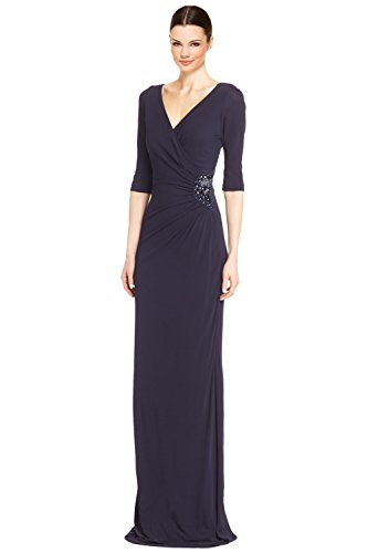 Teri Jon Embellished Side 3/4 Sleeve Evening Gown Dress