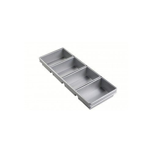Focus Foodservice 905642 4 Strap Bread Pan Set, 9'' x 4-1/2'' Individual Pan Size, 9-23/32'' x 21-7/8'' Overall Size, 2-3/4'' Pan Depth,