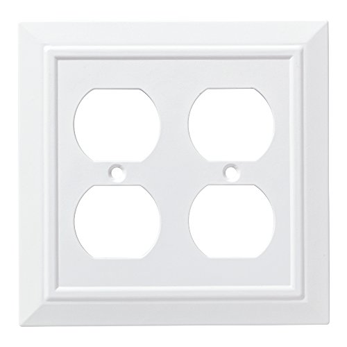 Franklin Brass W35247-PW-C Classic Architecture Double Duplex Wall Plate/Switch Plate/Cover, White Double Outlet Wall Plate