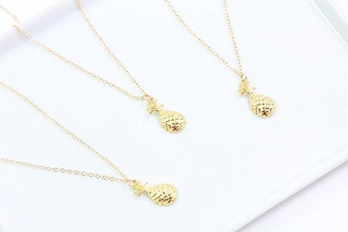 Dainty Pineapple Choker, Hawaiian Fruit Necklace, Tropical Charm Choker in 14k Gold (14k Gold Fruit Charm)