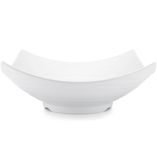 Antique White Fruit Bowl - Q Squared Zen BPA-Free Melamine Serving Bowl, 12-1/2 Inches, White