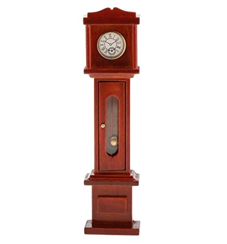 EatingBiting(R) 1:12 1 12 Scale Grandfather Clock Dollhouse Miniatures Furniture Vintage Living Room Wooden Grandfather Brown Clock, Door Can Opened, Worth to keep ()