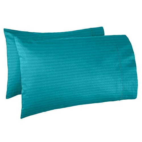 Nestl Bedding Soft Pillow Case Set of 2 - Double Brushed Microfiber Hypoallergenic Pillow Covers - 1800 Series Damask Dobby Stripe Pillow Cases, King - Teal ()