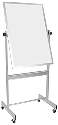 Best-Rite Deluxe Reversible Mobile Whiteboard, Dura-Rite HPL Markerboard Both Sides, Aluminum Trim, Panel Size 30 x 40 Inches - Deluxe Aluminum Trim