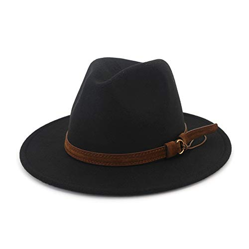 (Lisianthus Men & Women Vintage Wide Brim Fedora Hat with Belt Buckle Black)